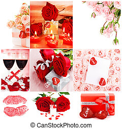 Love concept collage with various images of roses, gifts ,...