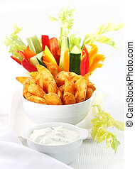 Raw vegetable and wedges with dip - Raw vegetable and wedges...