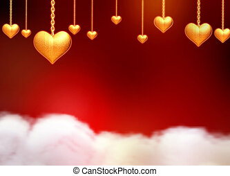 3d golden hearts over clouds