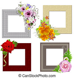 The frames is decorated with a bouquet of flowers. Isolated on white background
