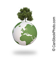 earth green tree ecology 3d cg
