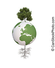 earth dry and green tree ecology 3d cg for web design,...