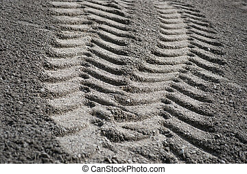 Tire print in sand - Tire print from heavy vehicle in sand