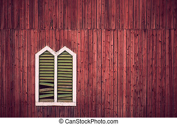 Red wall with window frame - Red wooden rustic wall with...