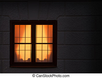 Window with light - Yellow light from window late at night