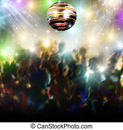 Discothequen with disco ball and people