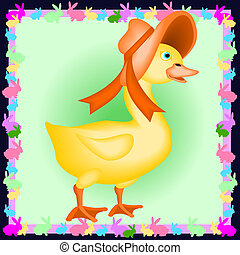 Baby duck with bonnet - Cartoon illustration of a baby duck...