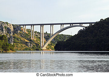 Skradin bridge - New concrete arch bridge at river Krka