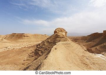 The sandstone rock in the desert