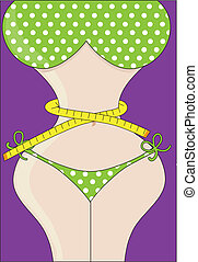 Weight Loss - A voluptuous, curvy, female figure in a green,...