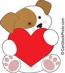 Cute Puppy Valentine - A cute brown and white puppy, is...