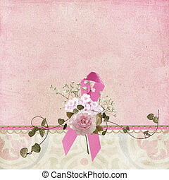 Pink Ribbon with bouquet