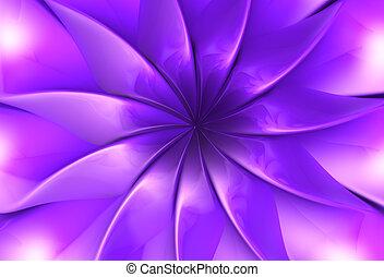 Purple fantasy flower petal 3d illustration