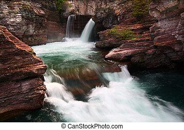 Saint Mary Falls - Montana - Turbulent waters of Saint Mary...