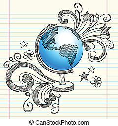 Globe Planet School Sketchy Doodles - Hand-Drawn Back to...