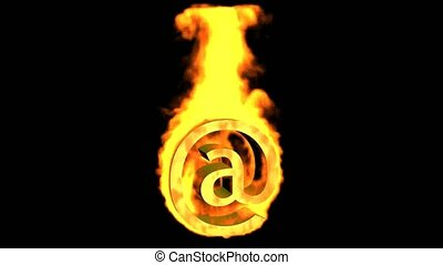 Internet fire symbol,@ mail.