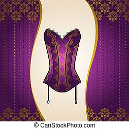 Vintage corset with beautiful ornament on the background