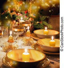 Christmas dinner table with christmas mood - Christmas...