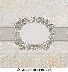 Old card design, blue vintage frame. EPS 8