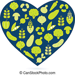 Healthy food heart isolated on white blue and green -...