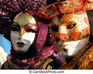 Two colorful carnival masks in Venice
