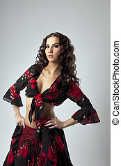 Cute young woman portrait  in gypsy costume