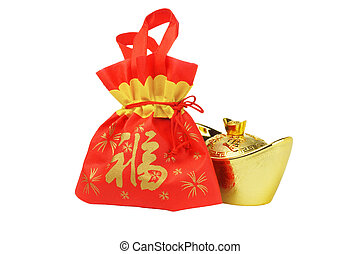 Chinese New Year Gift Bag and Gold inpgot Ornament on White...