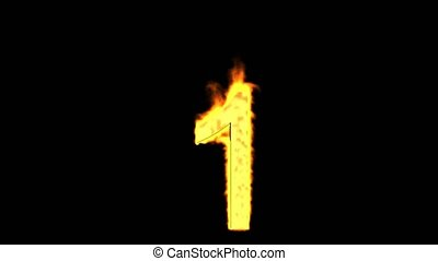 burning numbers 1,flames on black background.