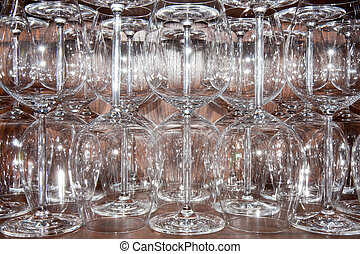 Empty glasses in a restaurant waiting for customers