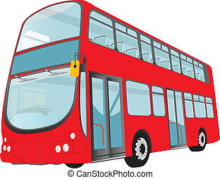 London Bus - London red bus on white background Vector