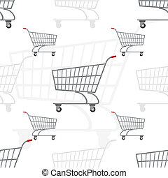 Grocery carts - Seamless illustration of the trolley for...