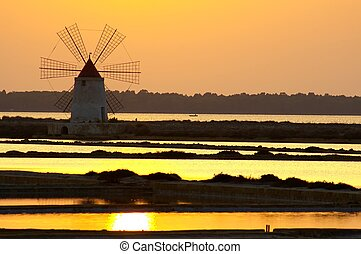 Windmill at Marsala, Saline, in Sicily Italy