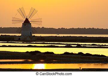 Windmill at Marsala, Saline, in Sicily Italy