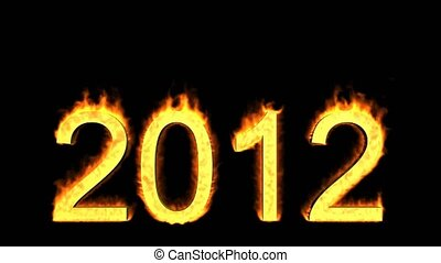 happy new year 2012,numbers 2012 burning with fire on black...