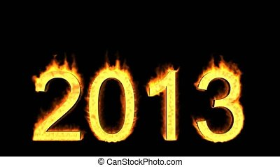 happy new year 2013,numbers 2013 burning with fire on black...