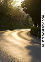 Road - View of a road at sunset