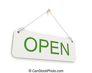 Open sign on white background