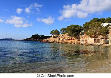 Typical beach in Ibiza, Balearic Island, Spain.
