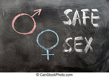 Safe sex concept with gender symbols written on a blackboard