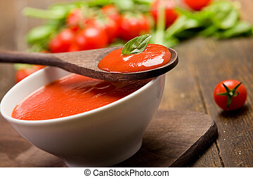 Tomato sauce - fresh red tomato sauce with basil leaf and...