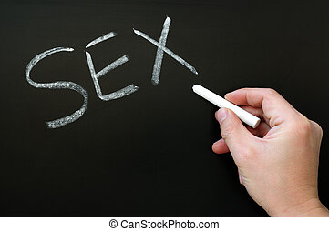 Word of Sex written on a blackboard