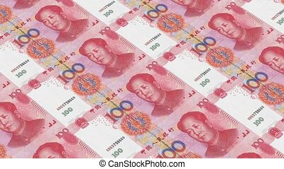 Printing Money Animation,100 RMB bills