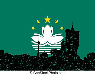 Grunge Macau skyline with their flag