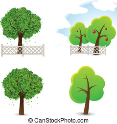 Trees Collection - Vector illustration of garden and trees