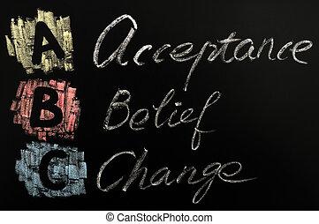 siglas, Abc, -, aceptación, creencia, cambio