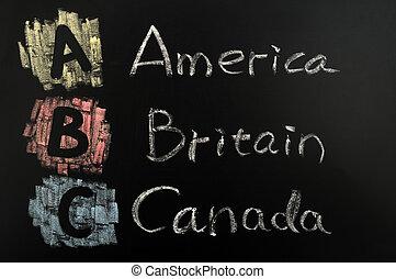 Acronym of ABC - America, Britain, Canada