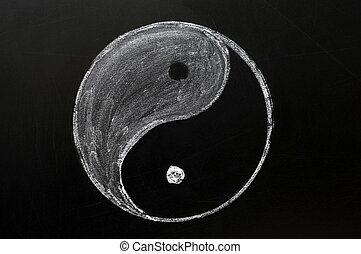 Tai Chi or yingyang symbol drawn in chalk on a blackboard
