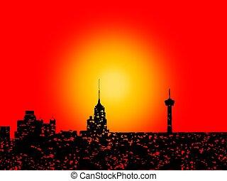 Grunge San Antonio skyline with sunset - Grunge San Antonio...