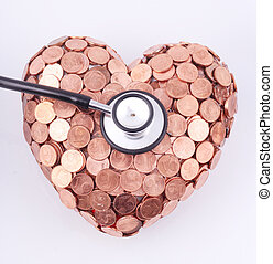 stethoscope - A black stethoscope on a heart of coins