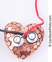 stethoscopes - Black and red stethoscopes on a heart of...